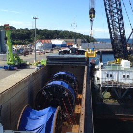Discharging Reels for Subsea 7 at Dusavik, Norway